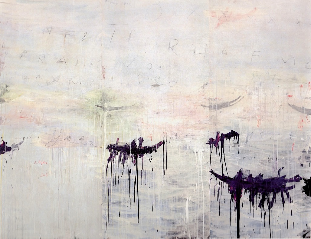 UNTITLED (A PAINTING IN 3 PARTS), 1992. ACRYLIC, OIL BASED HOUSE PAINT, COLOURED PENCIL AND LEAD PENCIL ON WOODEN PANEL